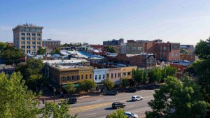 Aerial view of downtown Athens